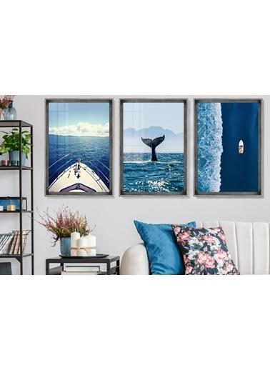 Çerçeve Home  Aquatic Life And Travel Inox Çerçeve Tablo Seti Füme